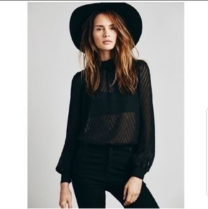 Free People After Midnight Button Back Blouse